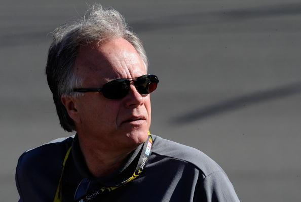 FONTANA, CA - OCTOBER 08 2010:  Team owner Gene Haas sits on pit road during qualifying for the NASCAR Sprint Cup Series Pepsi Max 400 on October 8, 2010 in Fontana, California.  (Photo by Rusty Jarrett/Getty Images for NASCAR)