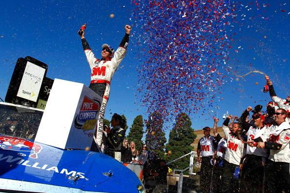 KANSAS CITY, KS - OCTOBER 03 2010:  Greg Biffle, driver of the #16 3M Ford, celebrates in victory lane after winning the NASCAR Sprint Cup Series Price Chopper 400 on October 3, 2010 in Kansas City, Kansas.  (Photo by Jason Smith/Getty Images for NASCAR)