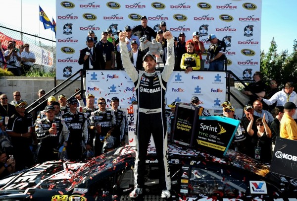 Jimmie Johnson celebrates in Victory lane after the  NASCAR Sprint Cup Series FedEx 400 Benefiting Autism Speaks at Dover International Speedway on June 1, 2014 in Dover, Delaware. (Getty Images)