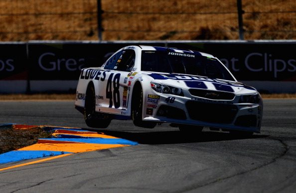SONOMA, CA - JUNE 20:  Jimmie Johnson, driver of the #48 Lowe's Chevrolet, drives during practice for the NASCAR Sprint Cup Series Toyota/Save Mart 350 at Sonoma Raceway on June 20, 2014 in Sonoma, California.  (Photo by Sean Gardner/Getty Images)
