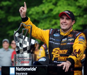 ELKHART LAKE, WI - JUNE 21: Brendan Gaughan, driver of the #62 South Point Chevrolet celebrates in Victory Lane after winning the NASCAR Nationwide Series Gardner Denver 200 Fired Up by Johnsonville at Road America, June 21, 2014 in Elkhart Lake, Wisconsin. (Photo by Rainier Ehrhardt/Getty Images)
