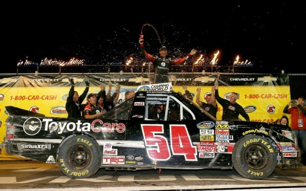 Darrell Wallace Jr. celebrates his win Wed. night at Eldora Speedway on July 23, 2014 in Rossburg, Ohio. (Getty Images)