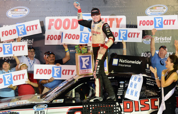 Ryan Blaney celebrates his win  after the NASCAR Nationwide Series Food City 300 at Bristol Motor Speedway on August 22, 2014 in Bristol, Tennessee. (Getty Images)