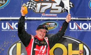 LOUDON, NH - SEPTEMBER 20 2014:  Cole Custer, driver of the #00 Haas Automation Chevrolet, celebrates in victory lane after winning the NASCAR Camping World Truck Series UNOH 175 at New Hampshire Motor Speedway on September 20, 2014 in Loudon, New Hampshire.  (Photo by Jonathan Ferrey/Getty Images)