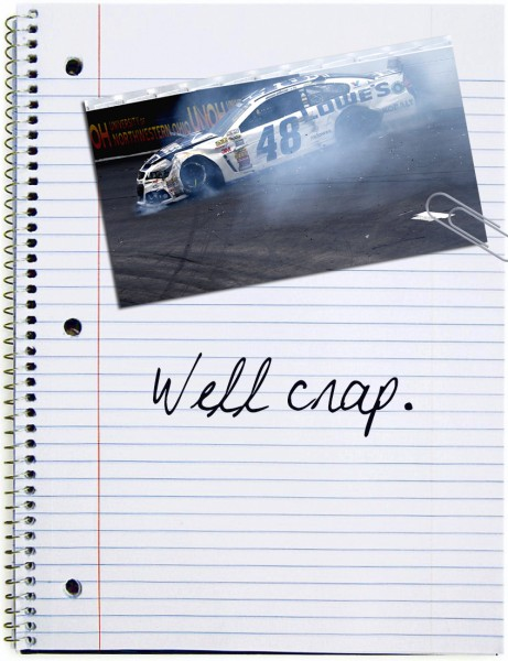 To prepare for this race, Chad Knaus carefully studied the notes he took from the New Hampshire race earlier in the year. They read as follows…