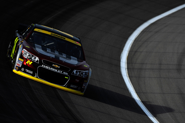 KANSAS CITY, KS - OCTOBER 04:  Jeff Gordon, driver of the #24 Drive To End Hunger Chevrolet, practices for the NASCAR Sprint Cup Series Hollywood Casino 400 at Kansas Speedway on October 4, 2014 in Kansas City, Kansas.  (Photo by Jared C. Tilton/Getty Images)
