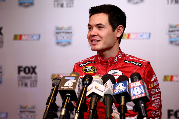 DAYTONA BEACH, FL - FEBRUARY 12:  NASCAR Sprint Cup Series driver Kyle Larson speaks to the media during the 2015 NASCAR Media Day at Daytona International Speedway on February 12, 2015 in Daytona Beach, Florida.  (Photo by Maddie Meyer/Getty Images)