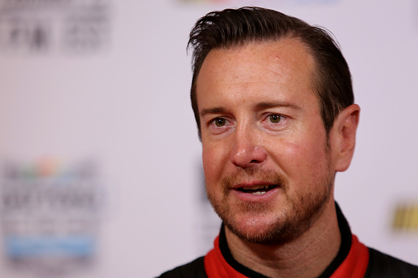 DAYTONA BEACH, FL - FEBRUARY 12: NASCAR Sprint Cup driver Kurt Busch speaks to the media during the 2015 NASCAR Media Day at Daytona International Speedway on February 12, 2015 in Daytona Beach, Florida. (Photo by Jerry Markland/Getty Images)