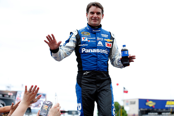 FORT WORTH, TX - APRIL 11:  Jeff Gordon, driver of the #24 Panasonic Chevrolet, takes part in pre-race ceremonies for the NASCAR Sprint Cup Series Duck Commander 500 at Texas Motor Speedway on April 11, 2015 in Fort Worth, Texas.  (Photo by Tom Pennington/Getty Images for Texas Motor Speedway)