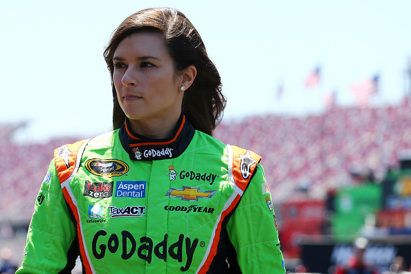 TALLADEGA, AL - MAY 01:  Danica Patrick, driver of the #10 GoDaddy Chevrolet, stands in the garage area during practice for the NASCAR Sprint Cup Series GEICO 500 at Talladega Superspeedway on May 1, 2015 in Talladega, Alabama.  (Photo by Maddie Meyer/Getty Images)