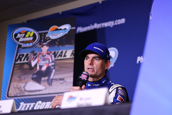 BROOKLYN, MI - JUNE 12:  Jeff Gordon, driver of the #24 PANASONIC Chevrolet, speaks at a press conference after practice for the NASCAR Sprint Cup Series Quicken Loans 400 at Michigan International Speedway on June 12, 2015 in Brooklyn, Michigan.  (Photo by Rey Del Rio/Getty Images)