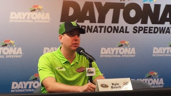 Kyle Busch meets with the media Saturday at Daytona (Photo: Greg Engle)