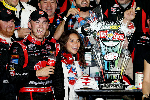 DAYTONA BEACH, FL - JULY 04:  Austin Dillon, driver of the #33 Rheem Chevrolet, celebrates in Victory Lane after winning the NASCAR XFINITY Series Subway Firecracker 250 Powered By Coca-Cola at Daytona International Speedway on July 4, 2015 in Daytona Beach, Florida.  (Photo by Patrick Smith/Getty Images)