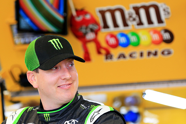 SPARTA, KY - JULY 10:  Kyle Busch, driver of the #18 M&;M's Crispy Toyota, stands in the garage area during practice for the NASCAR Sprint Cup Series Quaker State 400 Presented by Advance Auto Parts at Kentucky Speedway on July 10, 2015 in Sparta, Kentucky.  (Photo by Daniel Shirey/Getty Images)