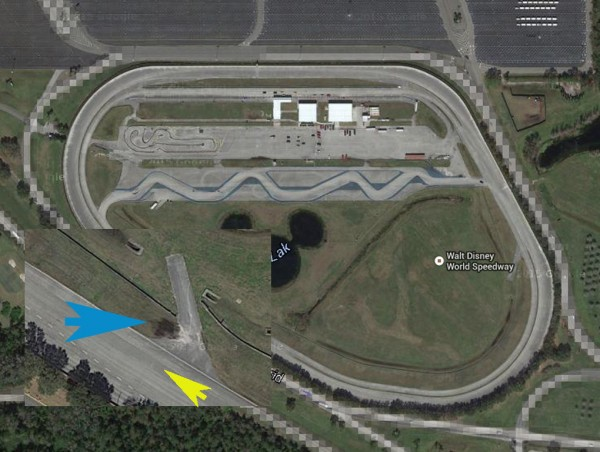 A Google Earth shot showing the area where April's accident occured and the direction of travel for the Exotic Driving Experience at the Walt Disney World Speedway.