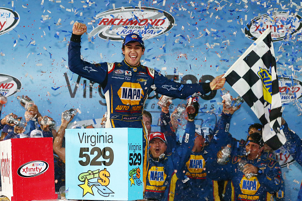 RICHMOND, VA - SEPTEMBER 11: Chase Elliott, driver of the #9 NAPA Auto Parts Chevrolet, celebrates in Victory Lane after winning the NASCAR XFINITY Series Virginia529 College Savings 250 at Richmond International Raceway on September 11, 2015 in Richmond, Virginia. (Photo by Sarah Crabill/Getty Images)
