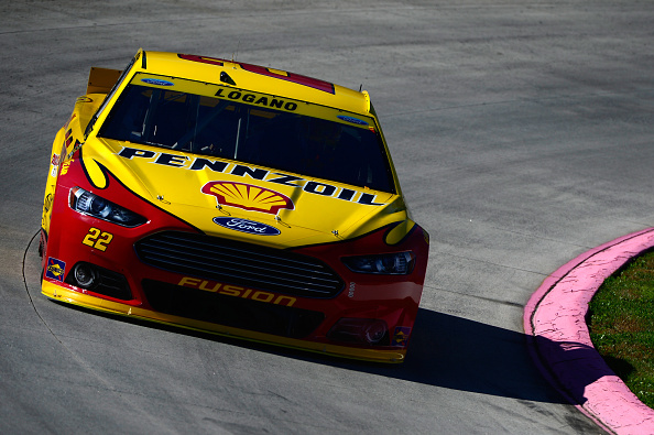 Joey Logano on track during practice for the NASCAR Sprint Cup Series Goody's Headache Relief Shot 500 at Martinsville Speedway on October 30, 2015 in Martinsville, Virginia.