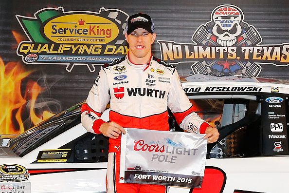 FORT WORTH, TX - NOVEMBER 06:  Brad Keselowski, driver of the #2 Wurth Ford, poses with the Coors Light Pole Award after qualifying for pole position during Service King qualifying for the NASCAR Sprint Cup Series AAA Texas 500 at Texas Motor Speedway on November 6, 2015 in Fort Worth, Texas.  (Photo by Jonathan Ferrey/Getty Images for Texas Motor Speedway)