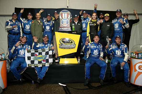 AVONDALE, AZ - NOVEMBER 15:  Dale Earnhardt Jr., driver of the #88 Nationwide Chevrolet, celebrates in victory lane after winning the rain-shortened NASCAR Sprint Cup Series Quicken Loans Race for Heroes 500 at Phoenix International Raceway on November 15, 2015 in Avondale, Arizona.  (Photo by Sean Gardner/Getty Images)