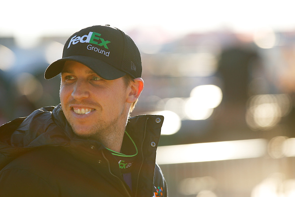 HAMPTON, GA - FEBRUARY 26:  Denny Hamlin, driver of the #11 FedEx Ground Toyota, looks on during qualifying for the NASCAR Sprint Cup Series Folds of Honor QuikTrip 500 at Atlanta Motor Speedway on February 26, 2016 in Hampton, Georgia.  (Photo by Kevin C. Cox/Getty Images)