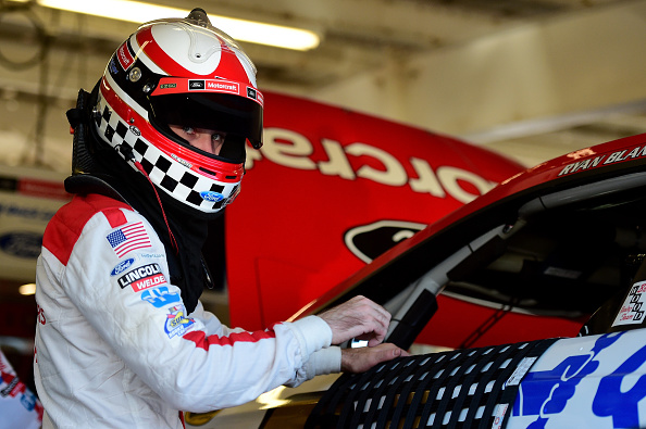 Ryan Blaney in the garage during practice for the NASCAR Sprint Cup Series Good Sam 500 at Phoenix International Raceway on March 12, 2016 in Avondale, Arizona.