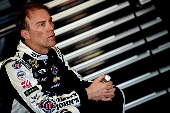 FONTANA, CA - MARCH 18: Kevin Harvick, driver of the #88 Armour Nalley Chevrolet, sits in the garage area during practice for the NASCAR Xfinity Series TreatMyClot.com 300 at Auto Club Speedway on March 18, 2016 in Fontana, California. (Photo by Jonathan Moore/Getty Images)