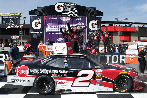 FONTANA, CA - MARCH 19:  Austin Dillon, driver of the #2 Rheem Chevrolet, celebrates in victory lane after winning the NASCAR Xfinity Series TreatMyClot.com 300 at Auto Club Speedway on March 19, 2016 in Fontana, California.  (Photo by Jeff Gross/Getty Images)