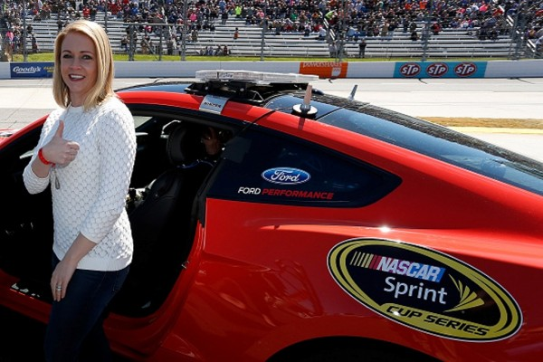 Melissa Joan Hart gets ready  to drive the pace car prior to the NASCAR Sprint Cup Series STP 500 at Martinsville Speedway on April 3, 2016 in Martinsville, Virginia.