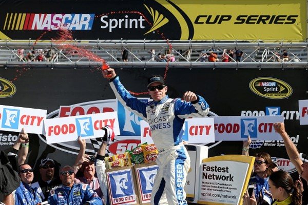 Carl Edwards celebrates after winning the NASCAR Sprint Cup Series Food City 500 at Bristol Motor Speedway on April 17, 2016 in Bristol, Tennessee.