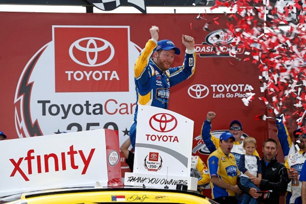 Dale Earnhardt Jr. celebrates after winning the NASCAR XFINITY Series ToyotaCare 250 at Richmond International Raceway on April 23, 2016 in Richmond, Virginia.