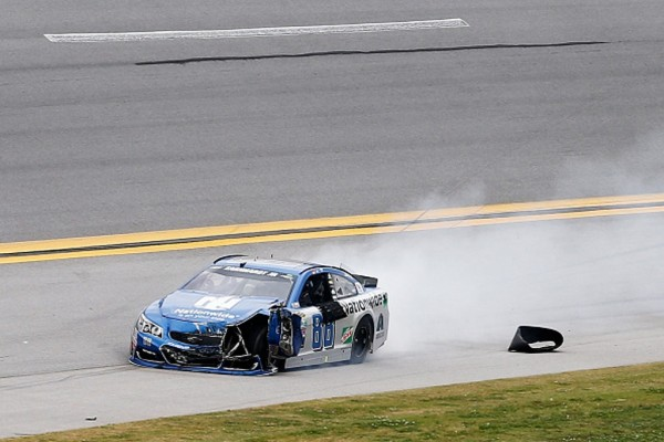 Dale Earnhardt Jr. heads to the pits after crashing during the NASCAR Sprint Cup Series GEICO 500 at Talladega Superspeedway on May 1, 2016 in Talladega, Alabama.