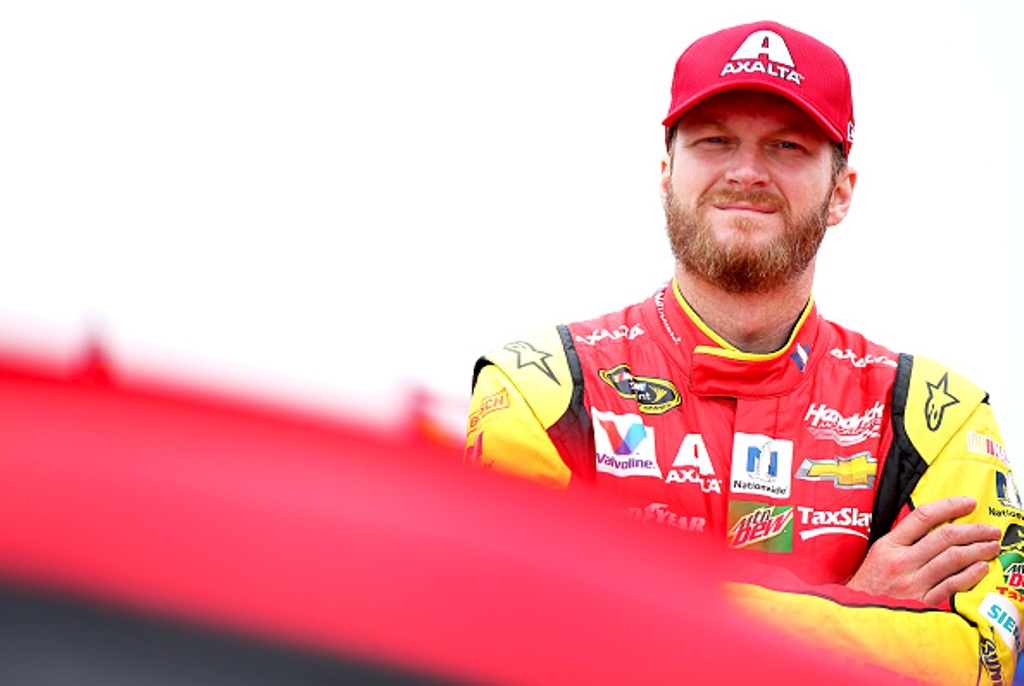 "Dale Earnhardt Jr. on pit road during qualifying for the NASCAR Sprint Cup Series Axalta ""We Paint Winners"" 400 at Pocono Raceway on June 3, 2016 in Long Pond, Pennsylvania."