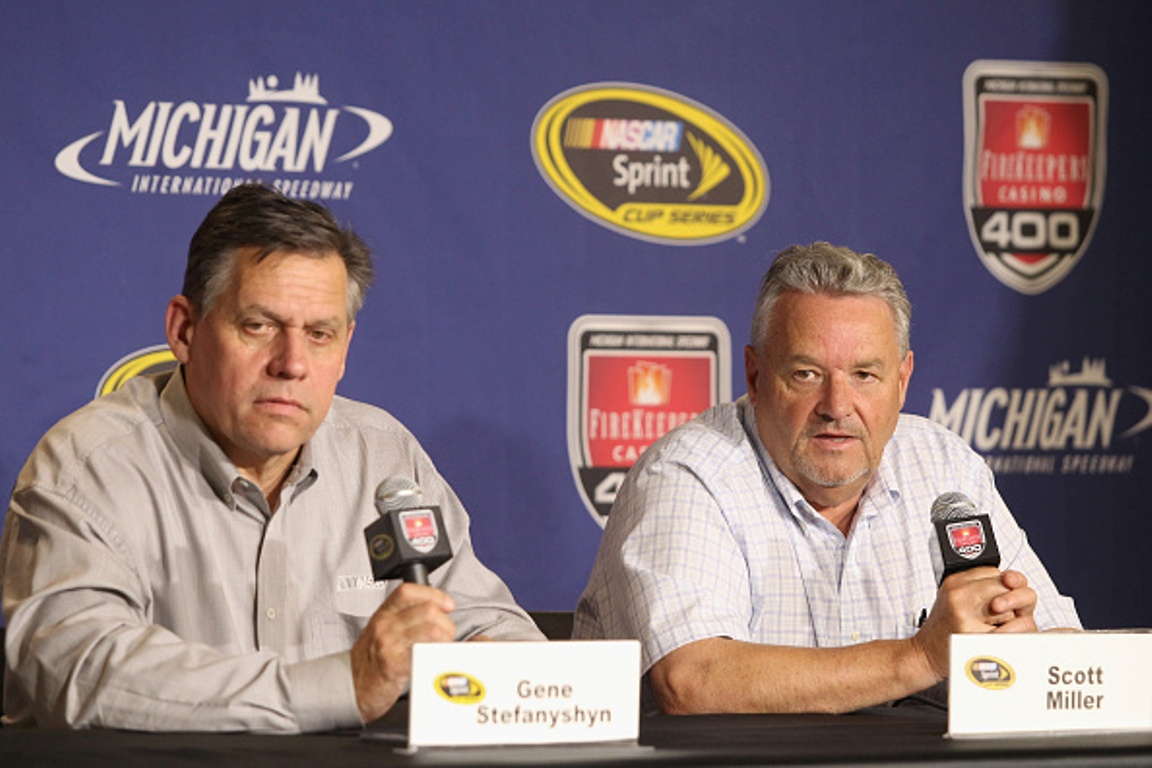 BROOKLYN, MI - JUNE 10: Gene Stefanyshyn, NASCAR Senior Vice President, Innovation and Racing Development and Scott Miller, NASCAR Senior VP of Competition address the media during practice for the NASCAR Sprint Cup Series FireKeepers Casino 400 at Michigan International Speedway on June 10, 2016 in Brooklyn, Michigan. (Photo by Kena Krutsinger/Getty Images )