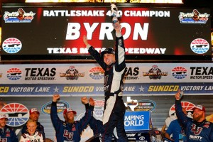 FORT WORTH, TX - JUNE 10: William Byron, driver of the #9 Liberty University Toyota, celebrates in victory lane after winning the NASCAR Camping World Truck Series Rattlesnake 400 at Texas Motor Speedway on June 10, 2016 in Fort Worth, Texas. (Photo by Jonathan Ferrey/Getty Images for Texas Motor Speedway)