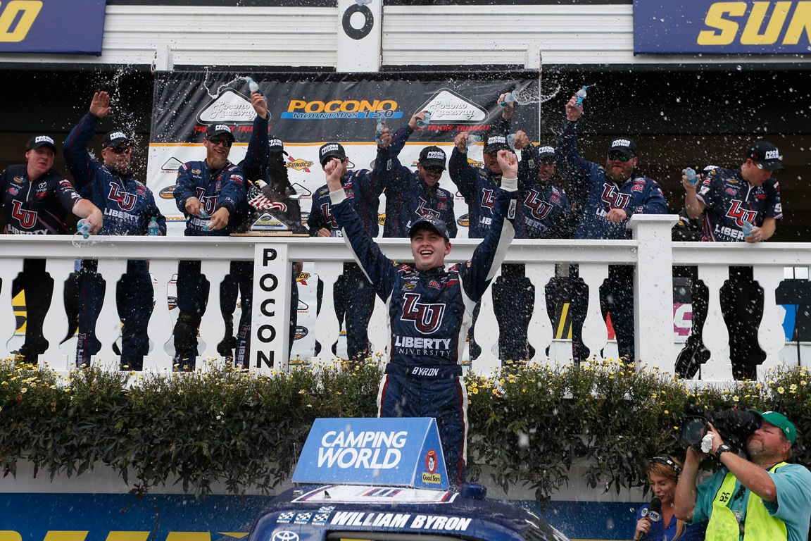 William Byron, driver of the #9 Liberty University Toyota celebrates in victory lane after winning the NASCAR Camping World Truck Series Pocono Mountains 150 at Pocono Raceway on July 30, 2016 in Long Pond, Pennsylvania.  (Getty Images)