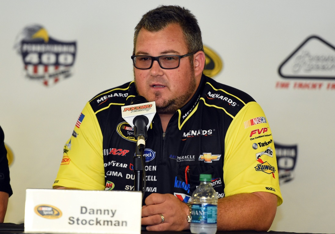Danny Stockman, crew chief of the #27 Moen/Menards Chevrolet driven by Paul Menard, holds a press conference after practice for the NASCAR Sprint Cup Series Pennsylvania 400 at Pocono Raceway on July 29, 2016 in Long Pond, Pennsylvania. (Getty Images)