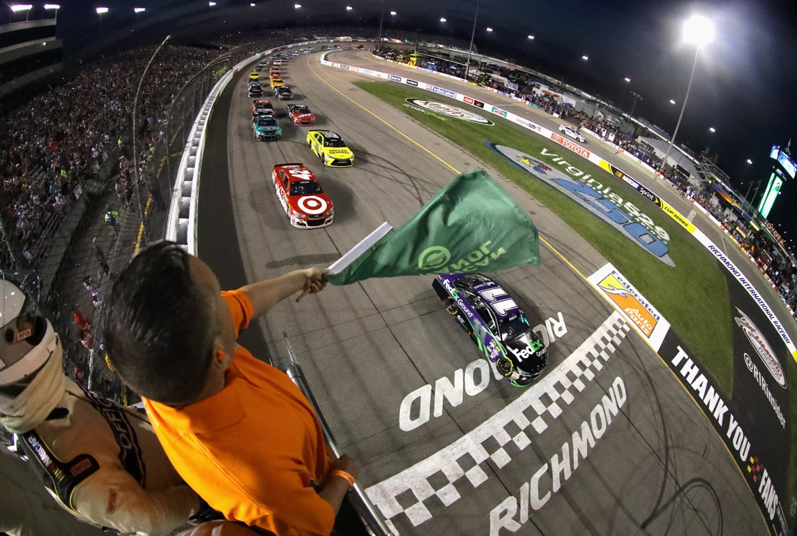Denny Hamlin led from pole Saturday night at Richmond. (Getty Images)