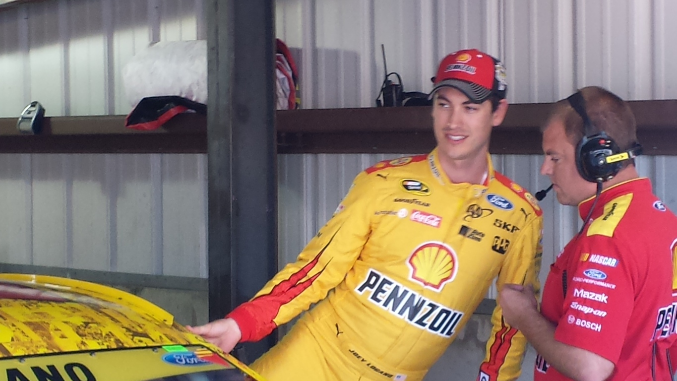 Joey Logano prepares to practice Saturday at Martinsville. (Greg Engle)