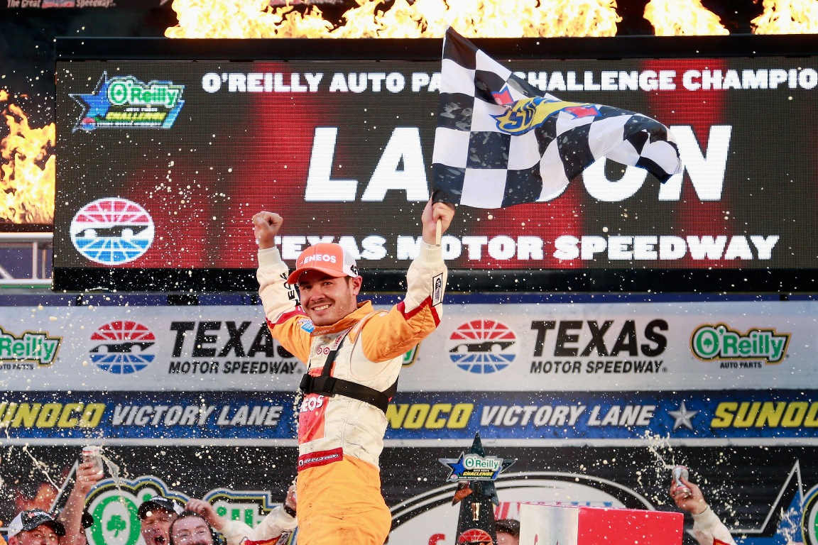 Kyle Larson, driver of the #42 ENEOS Chevrolet, celebrates in Victory Lane after winning the NASCAR XFINITY Series O'Reilly Auto Parts Challenge at Texas Motor Speedway on November 5, 2016 in Fort Worth, Texas.(Getty Images)