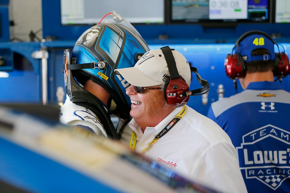Rick Hendrick, owner of Hendrick Motorsports, talks with Jimmie Johnson, driver of the #48 Lowe's Chevrolet, in the garage area during practice for the NASCAR Sprint Cup Series Ford EcoBoost 400 at Homestead-Miami Speedway on November 19, 2016 in Homestead, Florida.  (Getty Images)